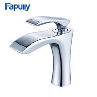 Fapully Bathroom Chrome Faucet Single Handle Cold Hot Basin Mixer Tap Single Hole Water Tap Bathroom
