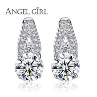 Angel Girl Handmade Jewelry High Quality 925 Sterling Silver Pave Earrings Stud Round CZ Clear Crystal