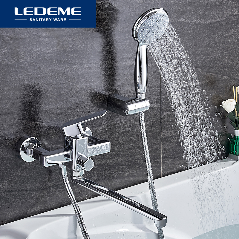 LEDEME Shower Faucet Set Bathroom Brass Bathtub Shower Faucet Bath Shower Tap Chrome Plated Shower Head Wall Mixer Tap L2233