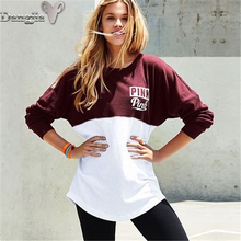 2017 Hot Sell Foreign Trade Spelling of The Long Style of Women's Clothing Regular Letter Full Pullovers Hooded Girl Fashion