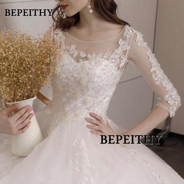 Vestido De Novia Three Quarter Sleeves Lace Wedding Dress 2021 Open Back Vintage Bridal Dresses Ball Gown Hot Sale 5