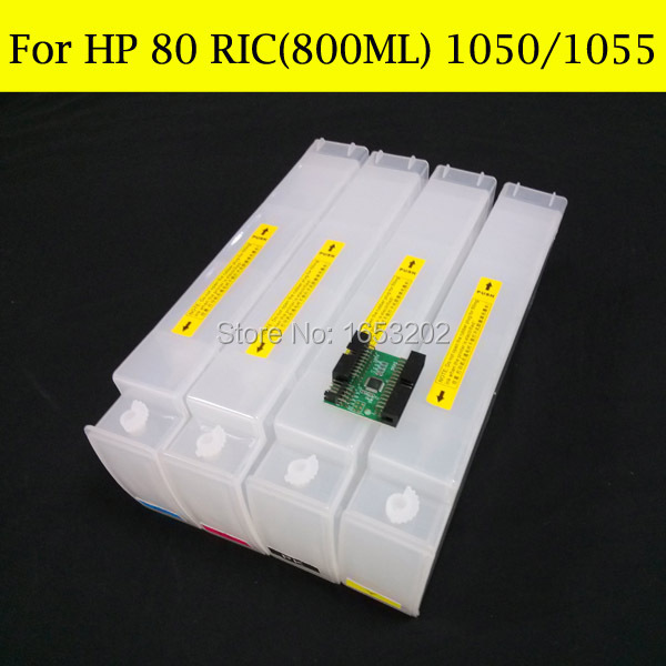 800ML X  4 for hp80 refill ink cartridge hp 80 designjet 1050 1055 1050ps 1050XL with chip Decoder