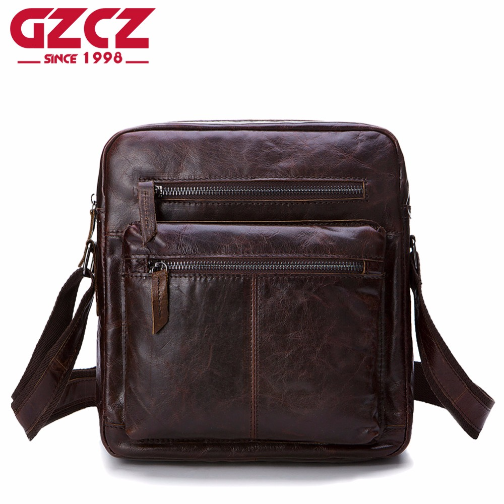 GZCZ Genuine Leather Messenger Bag Men Shoulder Crossbody Handbag Bolsas Sac Sling Chest For Briefcase luxury brand Male Small