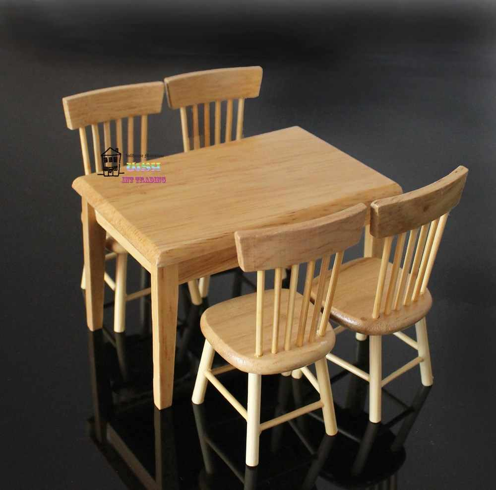 "4.01"" Dollhouse Miniature 1:12 Kitchen Furniture burlywood Wooden Dining Table Chair 5pcs Children Gift"