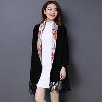 2017 marca imprimir flor mujer Cachemira pashmina Venta caliente de la borla de la moda femenina bufanda chal de manga larga alta calidad ponchos Cabo