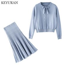 2019 New Knit Long-sleeve Sweater Skirt Suits Women Bow Collar Knit Crochet grid Crop Top A-line Pleated Skirt Women's 2pcs Set(China)