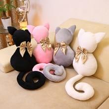 1PC 40cm super cute Korean cat plush pillow long tail Silhouette cat bowknot kitty cat cushion girl birthday gift free shipping