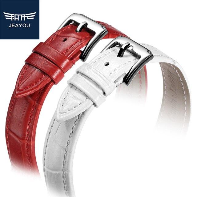 JEAYOU Кожаный Браслет Для Женщин 18 мм 20 мм Для Tissot/Casio/Seiko С Белый/Красный/розовый/Синий/Фиолетовый