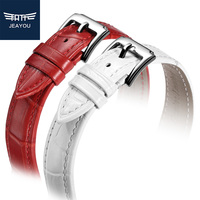 JEAYOU Genuine Leather High Good Quality New Watch Strap Pin Buckle White Red Pink Blue Purple