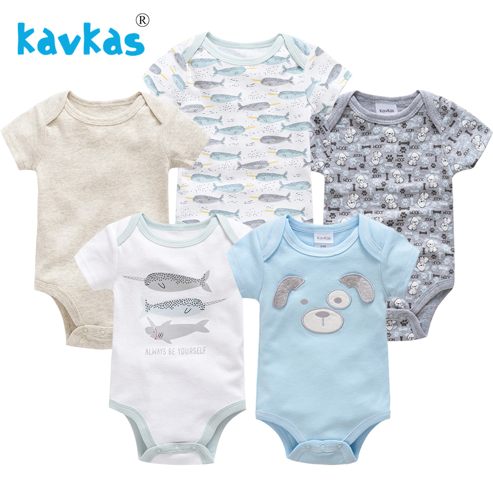 Kavkas New Baby Boy Clothes Set 5PCS Newborn Baby Boy Girls Rompers Short Sleeve Cotton Cartoon Infant Baby Overalls One Piece