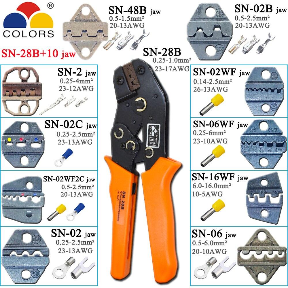 SN-28B alicates 10 garras para TAB 2,8, 4,8/6,3/C3 XH2.54 3,96/2510/tubo/no terminal eléctrica bloque de Prensa alicates kit de herramienta