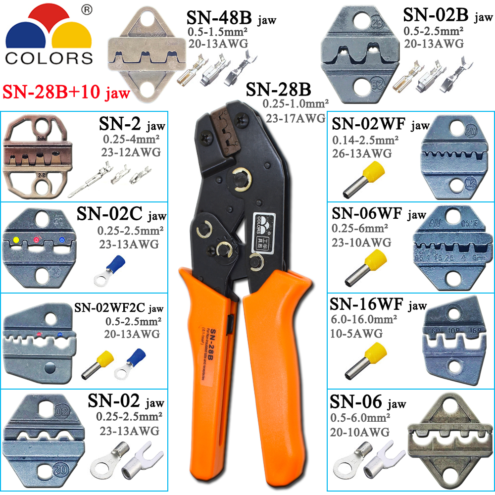 SN-28B zangen 10 krallen für TAB 2,8 4,8 6,3/C3 XH2.54 3,96 2510/rohr/keine elektrische terminal block crimpen zange kit werkzeug