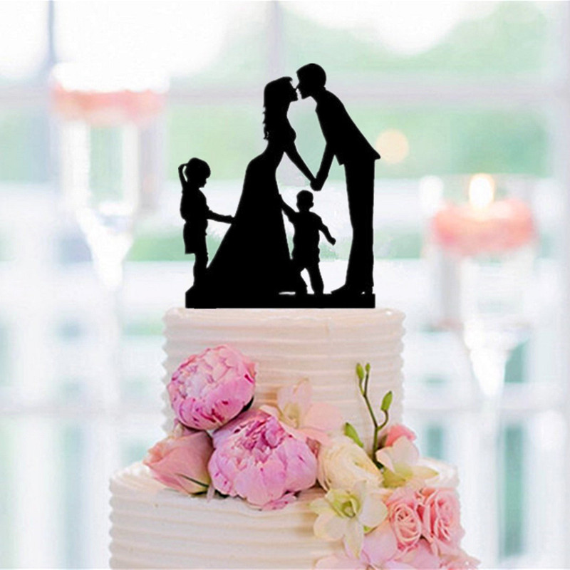Familly Wedding Cake Topper Bride And Groom With A Big -3827