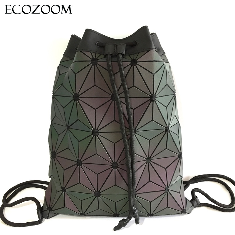 Women Luminous Drawstring Backpack Rainbow Shoulder Bags Beach Sack Bag Girls Geometric Bagpack PU Leather String Mochila Summer