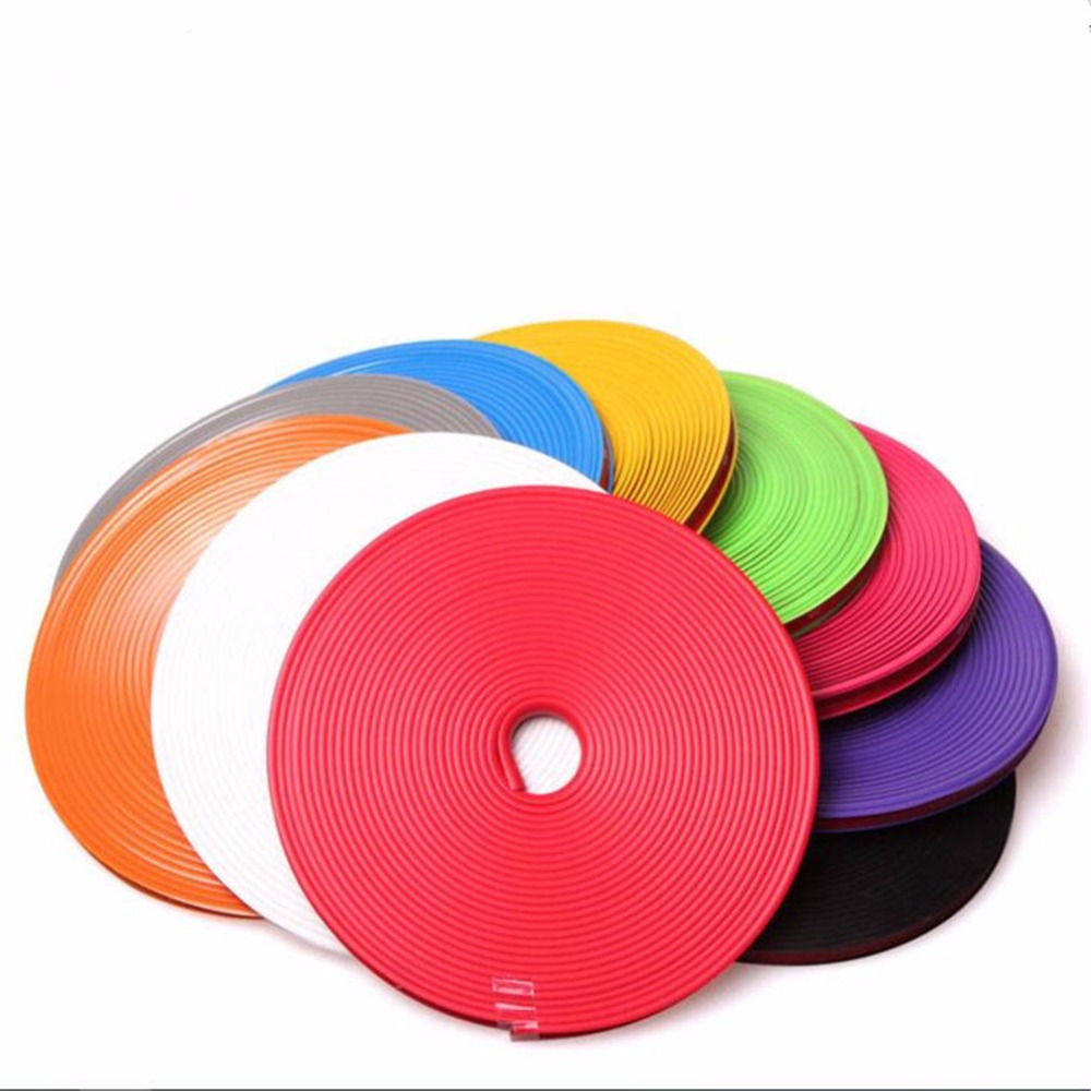 8M/Roll Car Styling Wheel Rim Protection Sticker Wheel Hub Protective Tape Auto Decorative Stickers Rim Car Accessories 16 strips motorcycle accessories 7 colors car styling decals 17 or 18 inch car stickers wheel rim sticker reflective tape