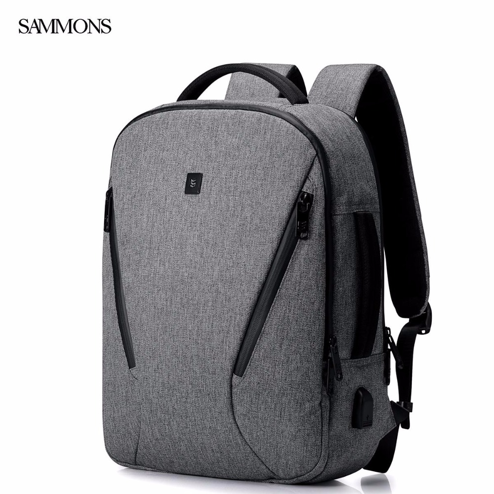 SAMMONS Brand New Design Fashion Casual Waterproof Nylon Men Backpack School Laptop Bag Shoulders Travel Bags USB Interface 14 15 15 6 inch flax linen laptop notebook backpack bags case school backpack for travel shopping climbing men women