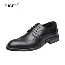 YIGER New Men dress shoes oxford man large size business male lace-up formal mens genuine leather Bullock 286
