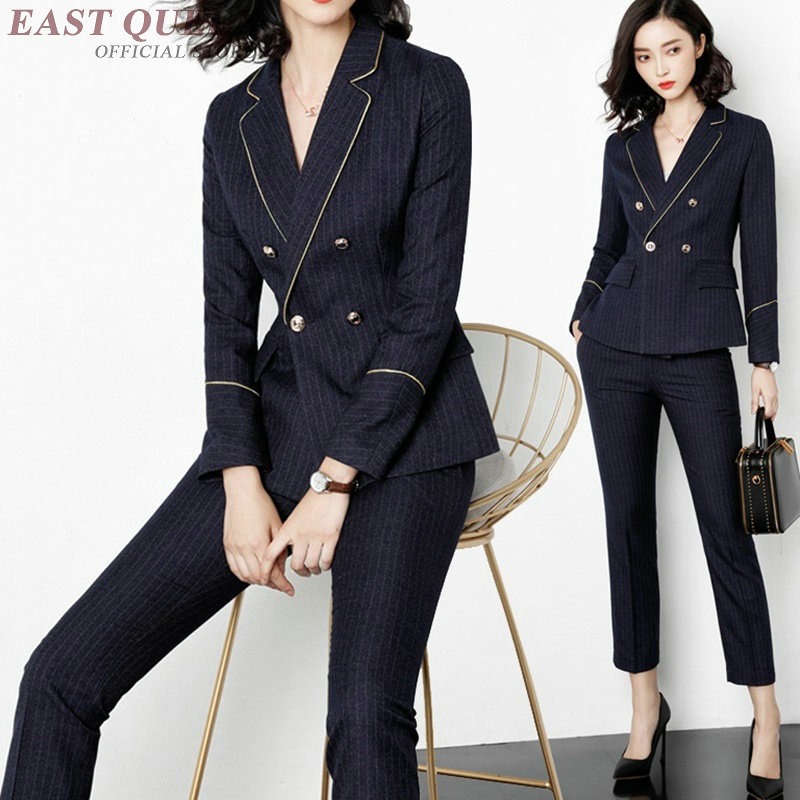 2018 High quality ladies business pants suits office suits tunic full sleeve formal tops women and zipper fly bottoms AA3400 F