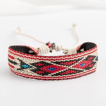 Bracelet ethnique tissu losange chic