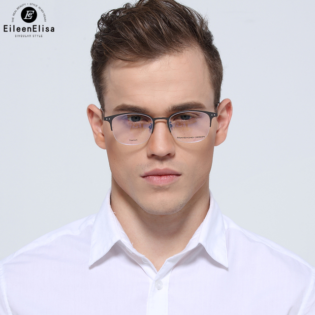 3196291acd1 EE Best Selling Half Frame Titanium Glasses Frame Men Prescription Optical  Glasses Rimless Glasses Men Eyeglass Frames