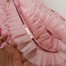 5cm Wide Good Quality Pink Embroidery Sequin Mesh Lace Fabric Home Textile Cartoon Doll Clothes Decoration DIY Skirt Cuff Sewing