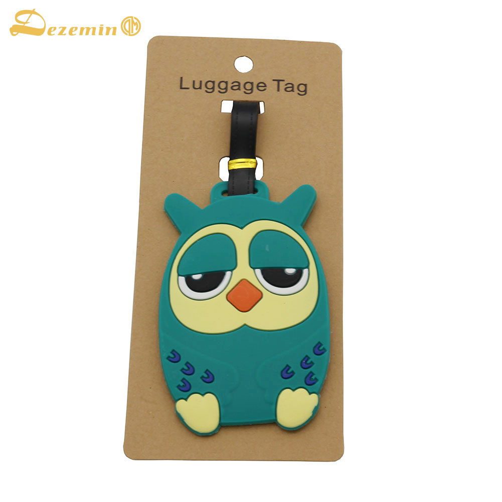 DEZEMIN Owl Luggage Tag Cute Name Card  Address For Travel Suitcase Bag