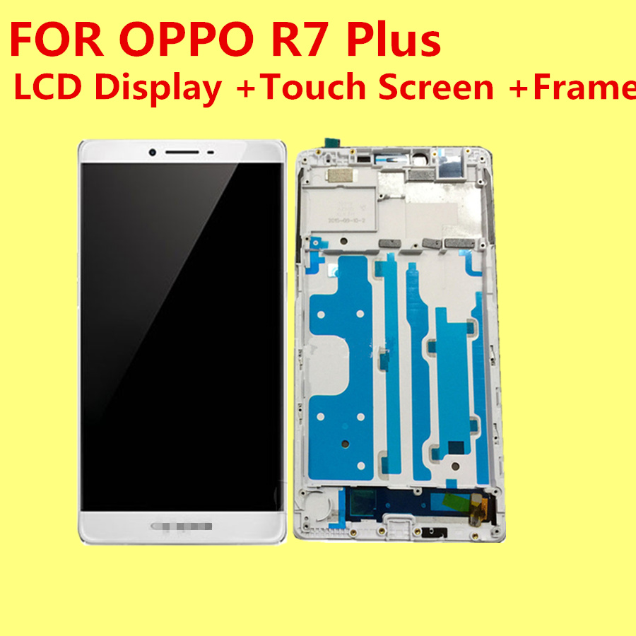 High quality For OPPO R7 Plus  6 LCD Display +Touch Screen +Frame Digitizer Glass Lens Assembly Replacement grade a replacement lcd glass screen ecran touch display digitizer assembly for oppo r9 plus 6 0 inch white with free tool kit