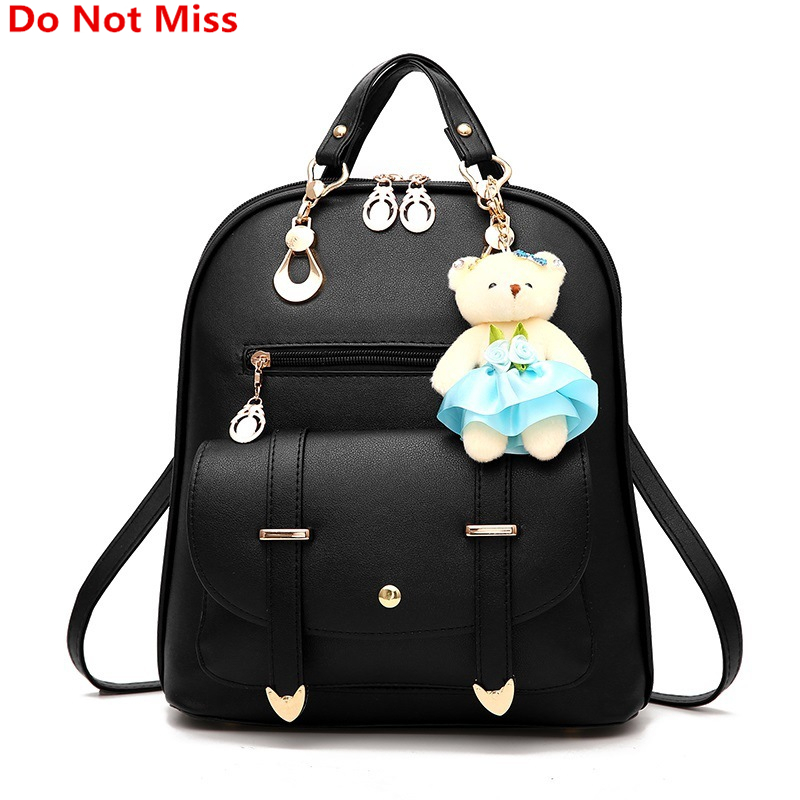 Do Not Miss Bear doll Backpack New Summer Students Preppy Style Backpack Women High Quality PU