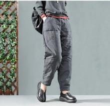 YoYiKamomo pantalones de lino y algodón para mujer, pantalón grueso acolchado, holgado, con cintura elástica, estilo harén, informal, para invierno, 2019