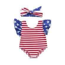 2018 New baby 2pcs rompers Newborn Baby boy Girl Short Sleeve Stars Striped Rompers Jumpsuit 4th Of July Outfits Setc613(China)