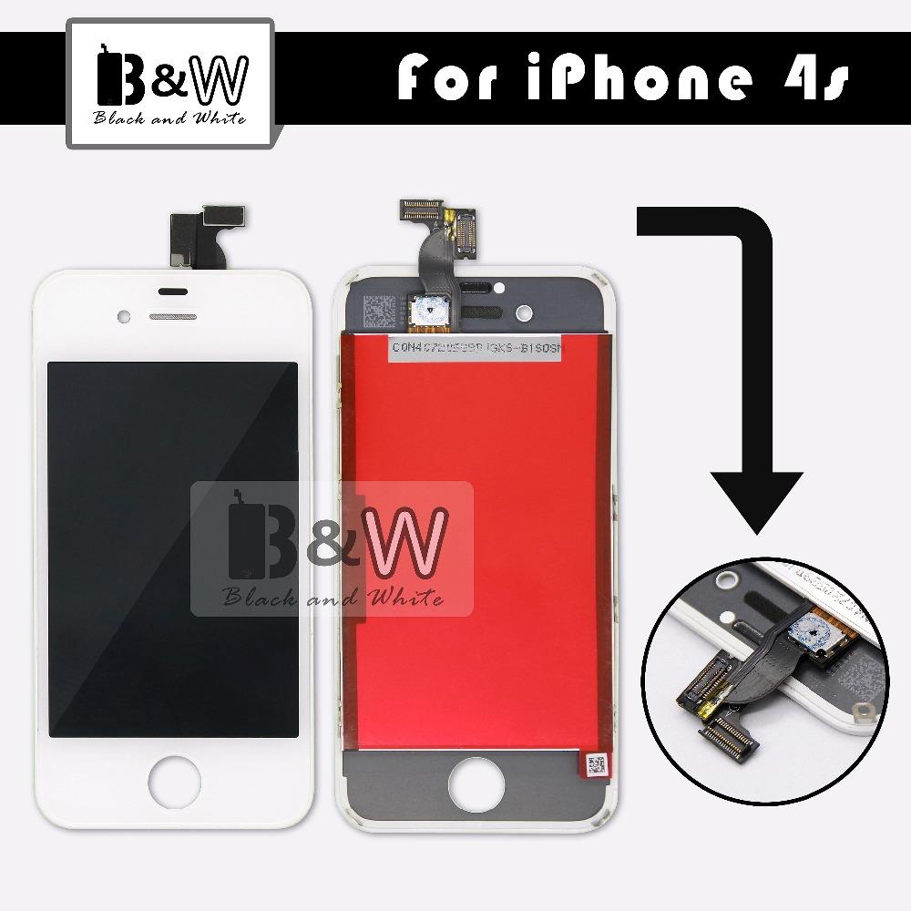 Prix pour Meilleure qualité grande emballage de qualité supérieure blanc noir pièces de rechange pour iPhone 4S LCD Screen Display assemblée complet