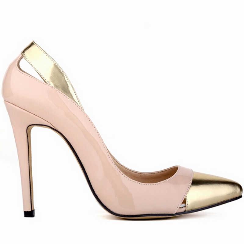 Sapatos Femininos Gót Thời Trang Da Chân Bằng Sáng Chế Chắp Vá Phụ Nữ Ladies Wedding Party Shoes Cộng Với Kích Thước Bơm cao gót w810
