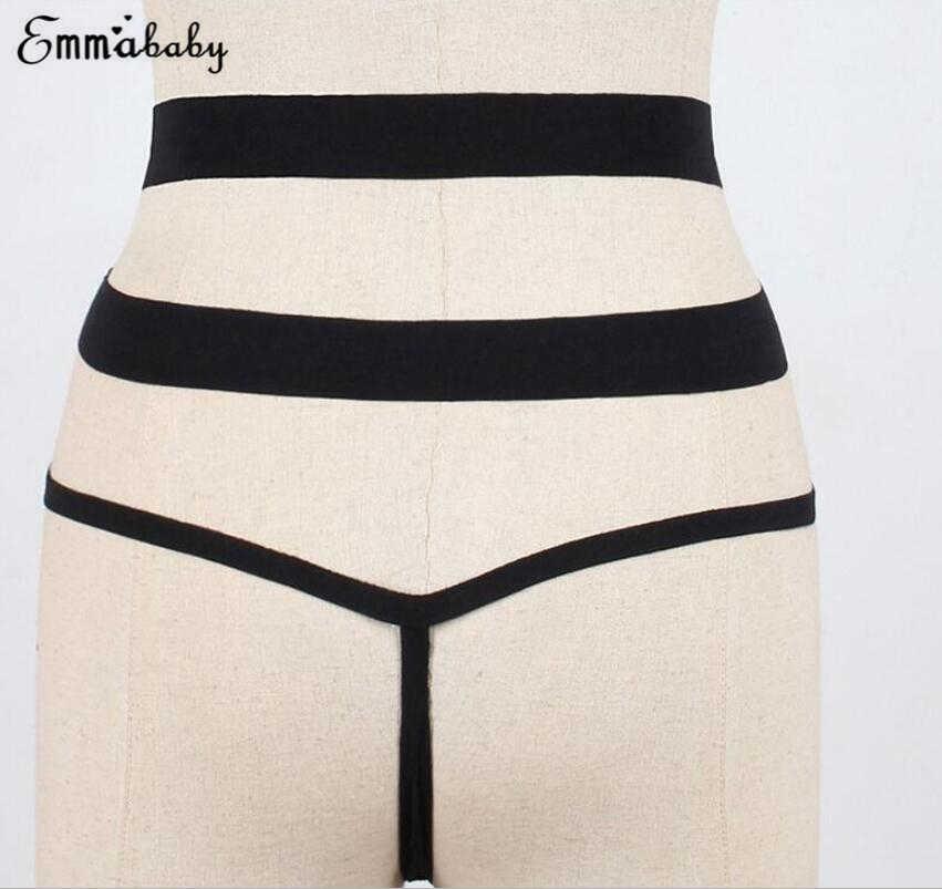 Sexy Brazilian Bikini Tali Berenang Celana Perban Hollow Kolam G-string Baju Renang untuk Wanita Hitam Celana Dalam Putih