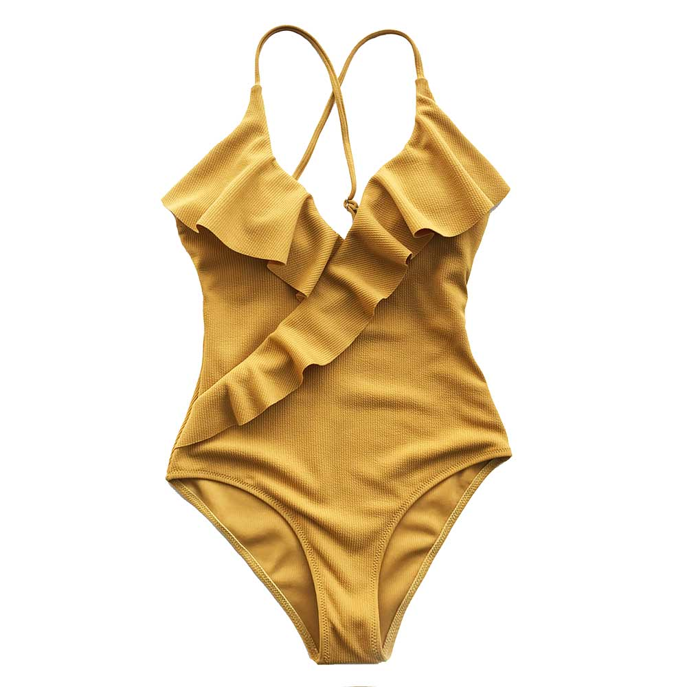 CUPSHE Happy Ending Yellow Solid One-piece Swimsuit Falbala V neck Ruffle Sexy Monokini 2020 Ladies Beach Bathing Suit Swimwear 5