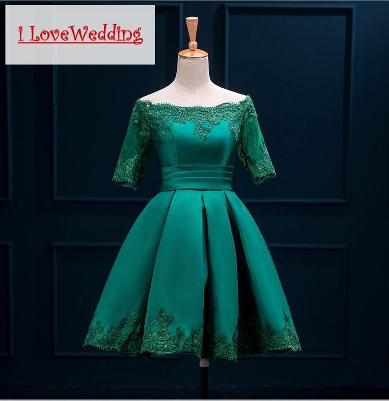 iLoveWedding Bourgondische korte prom dresses Halflange mouw Satijnen - Jurken voor bijzondere gelegenheden - Foto 5
