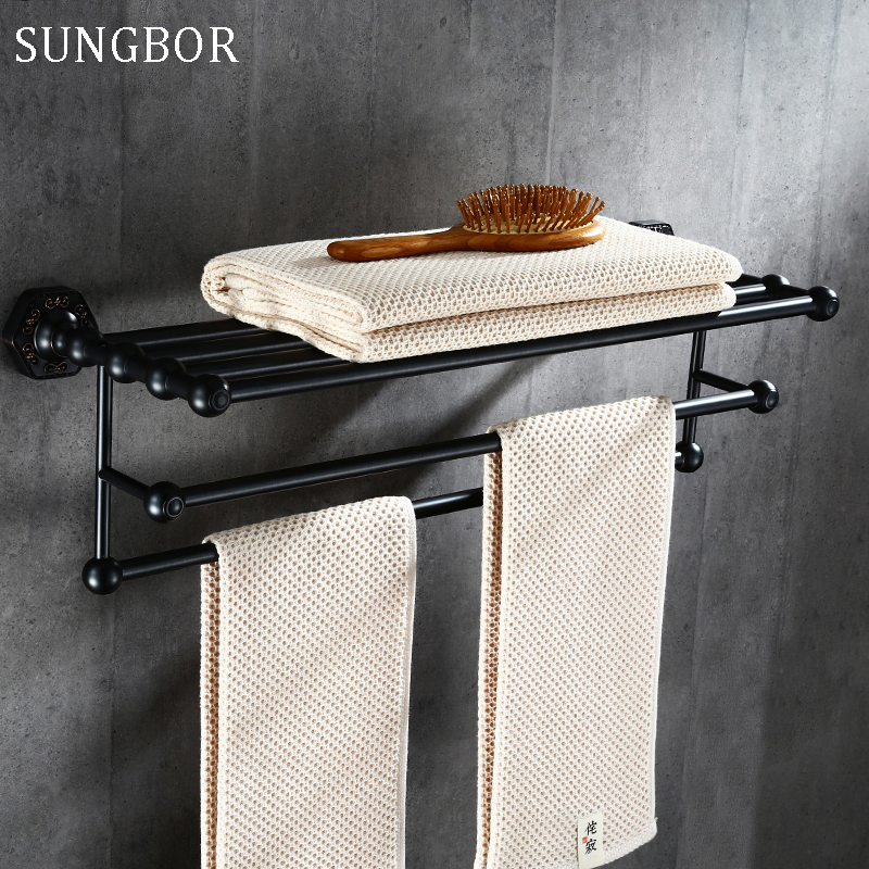 High Quality Oil Rubbed Bronze Bathroom Towel Rack Double Towel Bar Holder Hotel Bath Towel Clothes Storage Shelf Black SP-60812 2016 high quality brass and crystal bathroom towel rack gold towel holder hotel home bathroom storage rack rail shelf