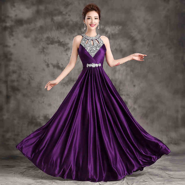 Wedding Party Dresses Yellow Pink Purple Royal Blue Black Red Gold White Colored Satin Formal Long