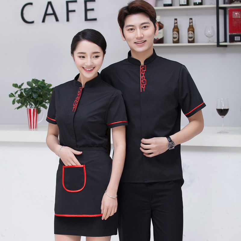 Chinese Restaurant Waiter Workwear Summer Short Sleeve  Food Service Uniforms Cafe Shop Work Clothing for Women Men