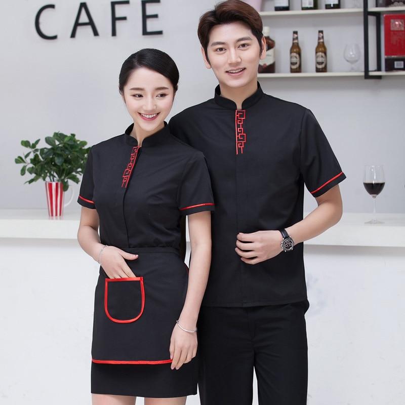 Chinese Restaurant Waiter Workwear Summer Short Sleeve  Food Service Waiter Uniforms Cafe Shop Work Clothing For Women Men