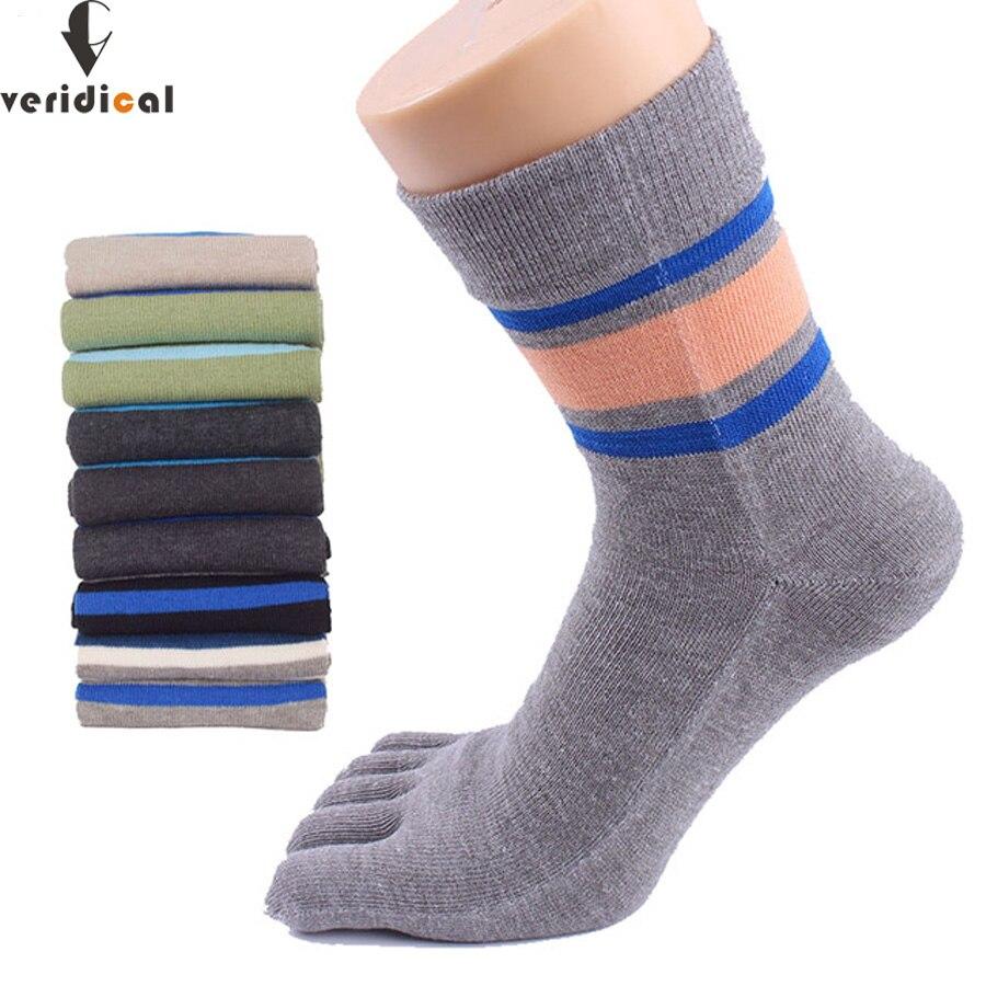 VERIDICAL High Ankle Toe Socks Brand Mens Dress Five Finger Sock stripe Sox 5 Pairs men short 5 finger socks good quality meias