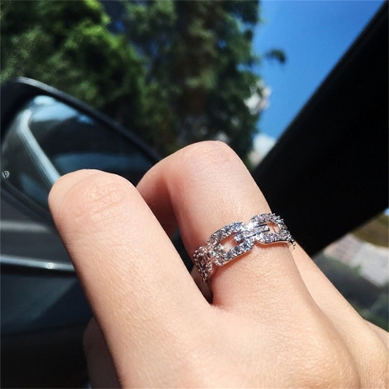 New Brand Fashion Hollow out Chain painting full SONA Diamond Ring Wedding Jewelry Sparkling 925 Sterling Silver Rings For Women punk style pure color hollow out ring for women