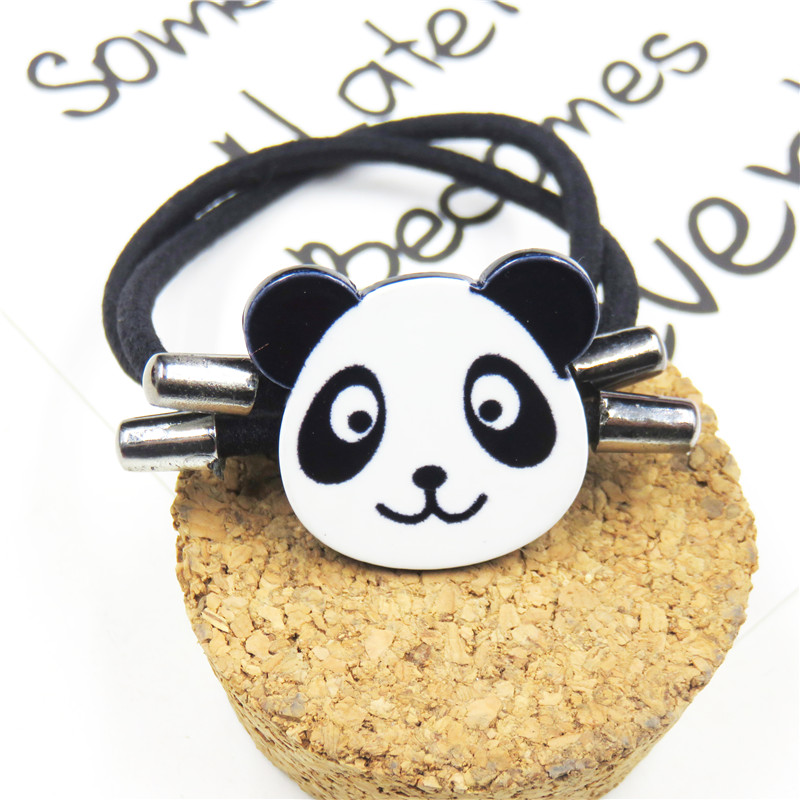 1PCS Lovely Panda Elastic Hair Bands For Girls Chinese Style Clip Headband Scrunchy Hairpin Kids Hair Accessories For Women