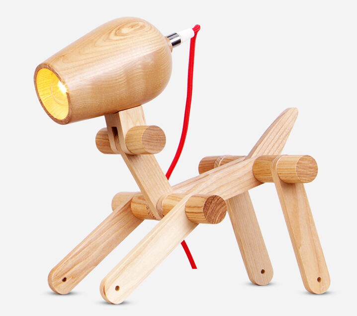 Modern Creative Fashion Wooden Little Dog Table Light Creative Personality Bedroom Bedside Study Wood Table Lamp Free Shipping