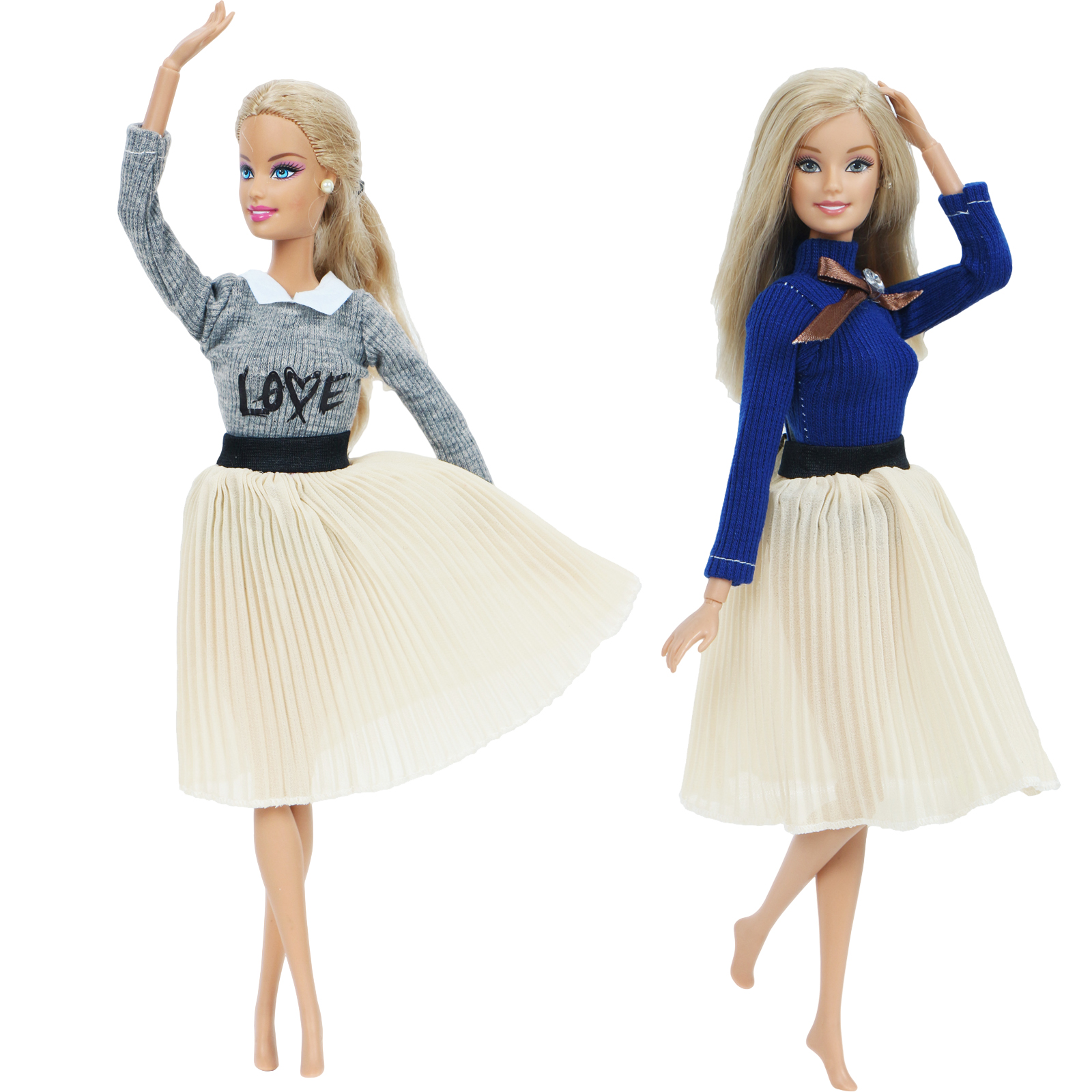 2 Pcs/Pack Handmade Doll Dress For Barbie Doll Fashion Long Sleeves Knitwear Blouse Shirt Pleated Skirt Clothes Accessories Toy