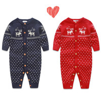 Infant Romper Bodysuit Kids Jumpsuit Winter Newborn Baby Boys Girls Warm Romper Knitted Sweater Children