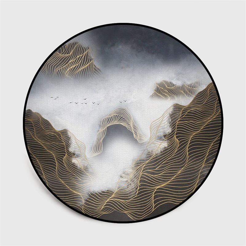 Image 2 - Chinese classical style abstract blue Mountain ink painting  carpet Bedroom living room round floor mat non slip rug custom madeMat