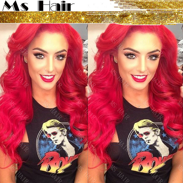Red Wig Wavy super star style lady gaga Synthetic Lace Front Wig Heat  Resistant Long Red Wig Cosplay Wigs Fast Shipping 612f6be490d1