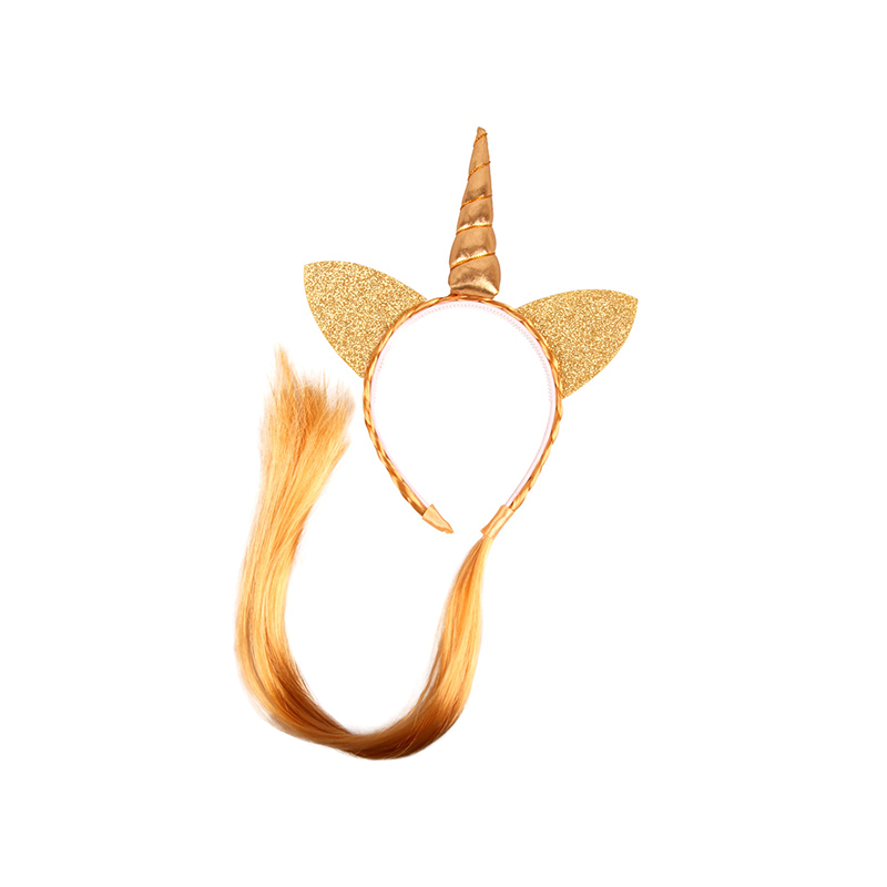 Girls party Headband Horn Ears Wig Braid Hairband Headwear Ponytail cute For Xmas Halloween Hair Accessories CW-7110
