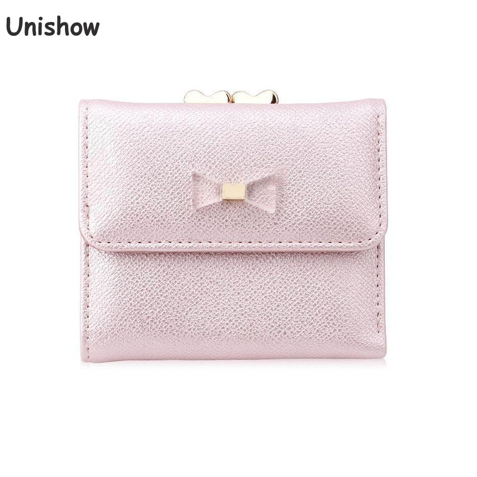 Unishow Cute Bow Wallet Women Small Female Purse Brand Lock Designer Ladies Wallet Mini Coin Purse Girl Change Bag Card Holders 2018 retro women long wallet purse luxury designer coin purse card holders female handbag wallet for girl portefeuille femme