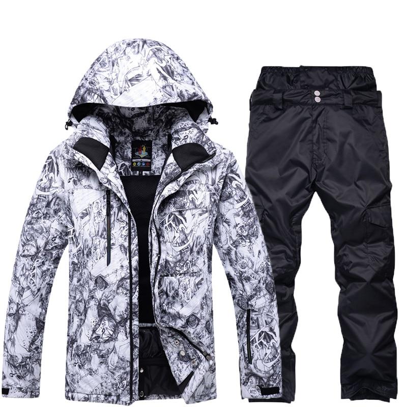 High quality winter men's snow suit professional snowboard suit outdoor waterproof windproof ski suit suit snow jacket and pants suit lemoniade suit